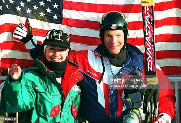 S First Lady Hillary Clinton and gold medalist of the men's downhill Tommy Moe of the US pose for photographers in Kvitfjell Norway 13 February 1994...