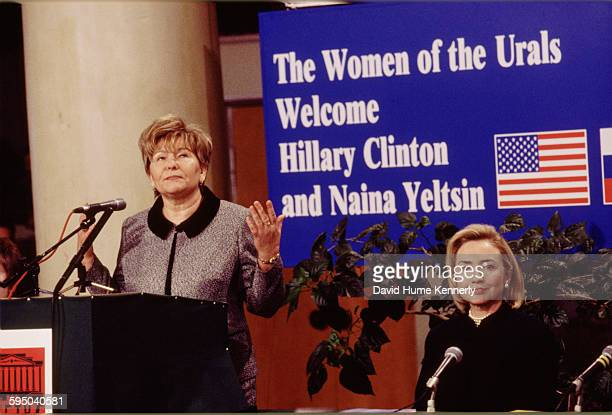 S First Lady Hillary Clinton and Mrs Naina Yeltsin wife of the Russian President Boris Yeltsin at a town hall meeting sponsored by the Urals Women's...