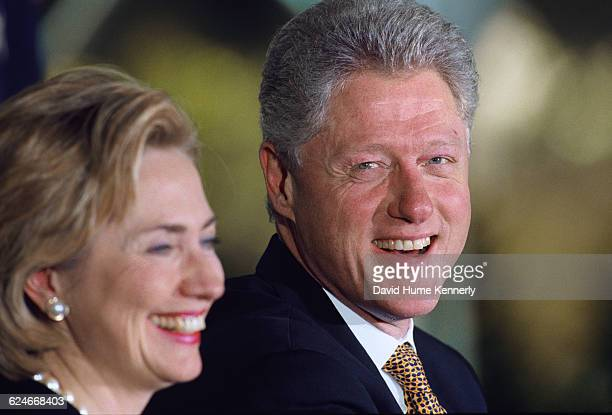 First Lady Hillary Clinton and President Bill Clinton at the White House for an event promoting peace in Ireland on September 11 1998