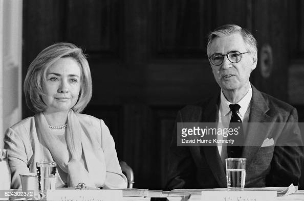 First Lady Hillary Clinton And Tv Personality Fred Rogers At A News Photo Getty Images