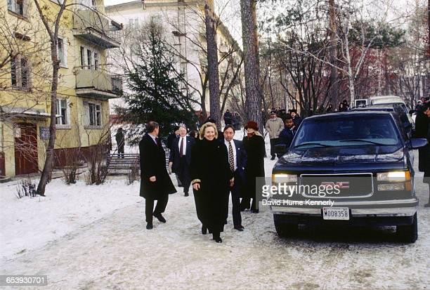 S First Lady Hillary Clinton at an event in Novosibirsk Russia November 16 1997 Mrs Clinton is on a trip visiting former Soviet Republics