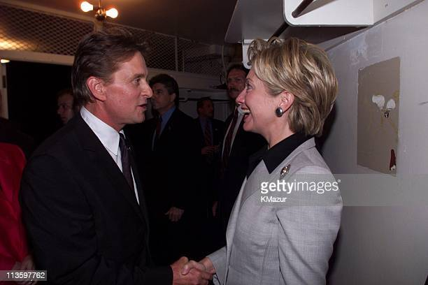 First Lady Hillary Clinton chats with Michael Douglas
