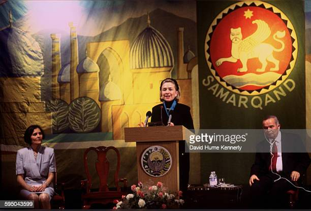 S First Lady Hillary Clinton delivers an address to an audience in Samarkand Uzbekistan November 14 also attended by Uzbek President Islam Karimov...