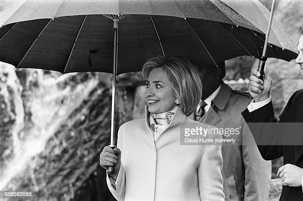 First Lady Hillary Clinton greets the crowd at the FDR memorial on February 6 1998