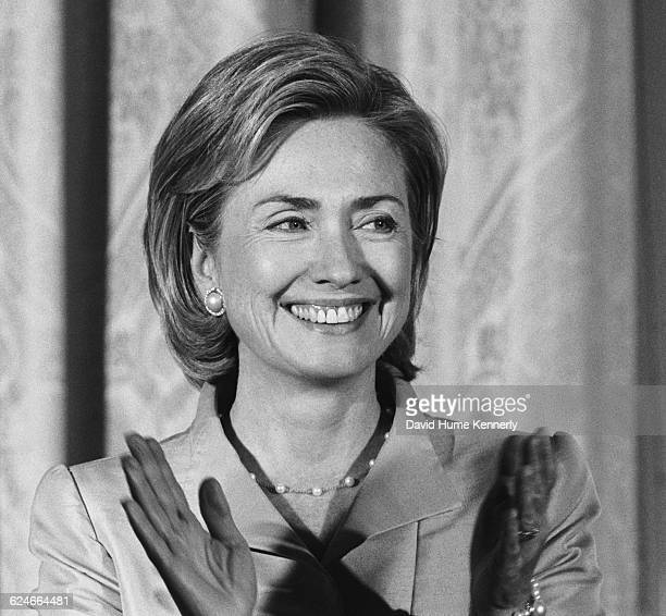 First Lady Hillary Clinton in the East Room of the White House during a colon cancer awareness event on September 10 1998 in Washington DC