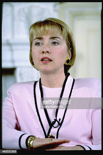 First Lady Hillary Clinton is photographed for Time Life during Whitewater Land deal press conference on April 22 1994 in Washington DC