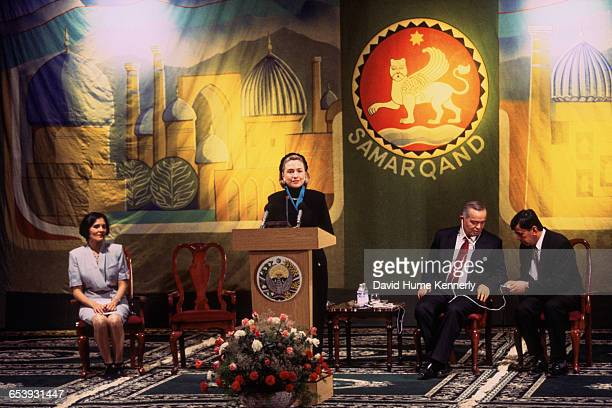 S First Lady Hillary Clinton listens to an address by Uzbek President Islam Karimov in Samarkand Uzbekistan November 14 1997 Mrs Clinton is on a trip...