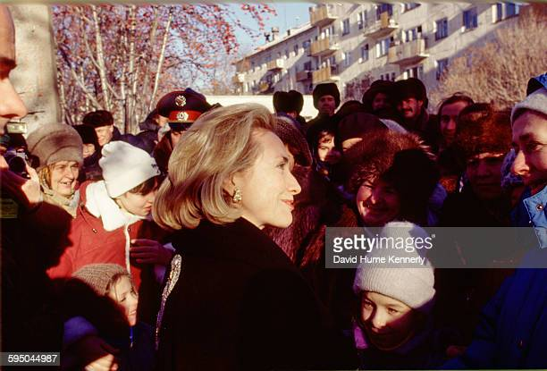 S First Lady Hillary Clinton meeting with the crowd at an event in Novosibirsk Russia November 16 1997 Mrs Clinton is on a trip visiting former...