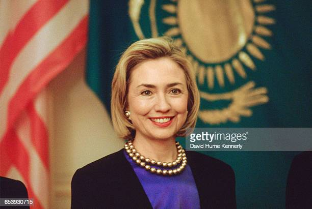 First Lady Hillary Clinton poses for photographers in Almaty, Kazakhstan, November 10, 1997. Mrs. Clinton is on a trip visiting former Soviet...