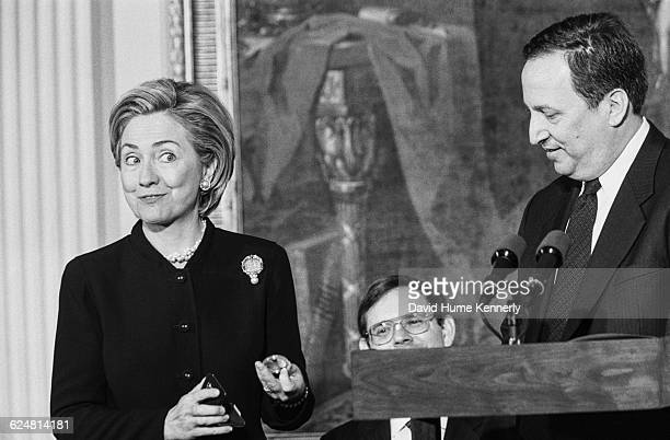 First Lady Hillary Clinton presents the Dolly Madison Commemorative Coin in the East Room of the White House on January 11 1999 Standing with her is...