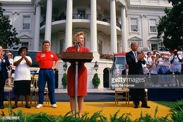 First Lady Hillary Clinton speaks about health care on the South Lawn of the White House