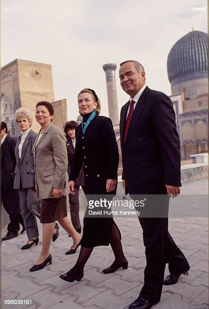 S First Lady Hillary Clinton visiting the town of Samarkand accompanied by Uzbek President Islam Karimov and his wife Tatiana Karimova November 14...