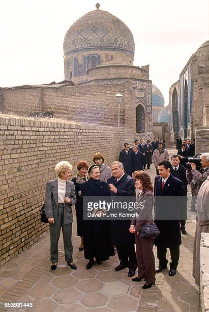 S First Lady Hillary Clinton visiting the town of Samarkand accompanied by Uzbek President Islam Karimov November 14 1997 Mrs Clinton is on a trip...