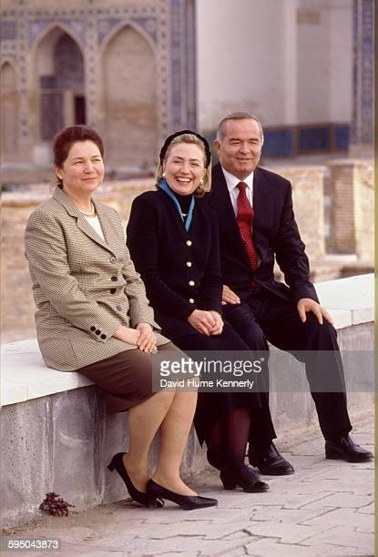S First Lady Hillary Clinton with Uzbek President Islam Karimov and his wife Tatiana Karimova Samarkand Uzbekistan November 14 1997 Mrs Clinton is on...