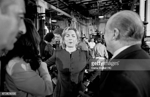 First Lady Hillary Rodham Clinton and General Electric CEO Jack Welch are photographed in the Thomas Edison Laboratory and factory as a part of her...