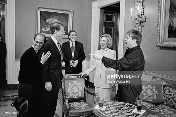 First Lady Hillary Rodham Clinton DreamWorks chief Jeffrey Katzenberg Vice President Al Gore Andy Spahn of DreamWorks and singer Elton John are...
