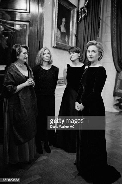 First Lady Hillary Rodham Clinton her chief of staff Melanne Verveer her press secretary Marsha Berry and her personal assistant Missy Kincaid...