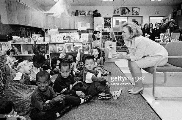 First Lady Hillary Rodham Clinton is photographed visiting the Center for Young Children at the University of Maryland on October 3 1997 in College...