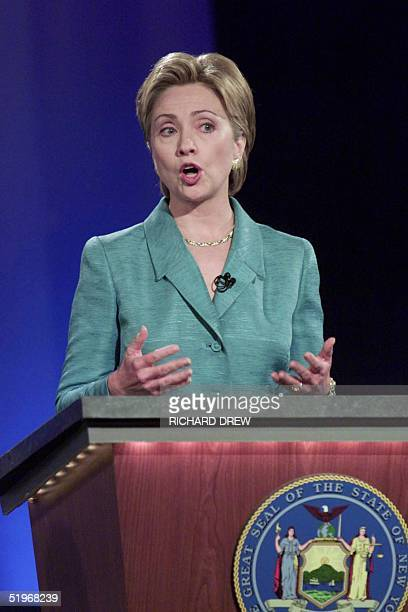 US first lady Hillary Rodham Clinton makes a point during her first debate in the New York State Senate race with US Senate candidate Rep Rick Lazio...