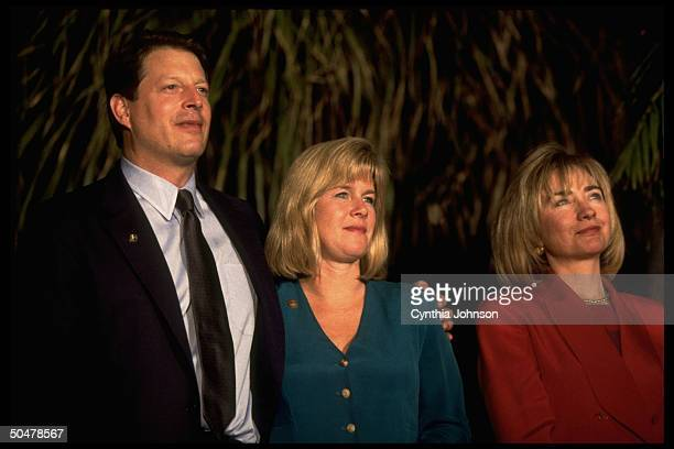 US First Lady Hillary Rodham Clinton posed alongside Vice President Al Gore and wife Tipper during Summit of Americas volunteers event 1994
