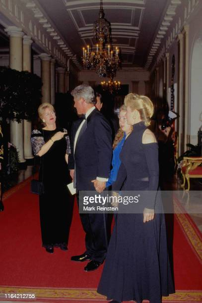 First Lady Hillary Rodham Clinton, President William Jefferson Clinton their daughter Chelsea, along with Tipper and VIce-President Albert Gore Jr....