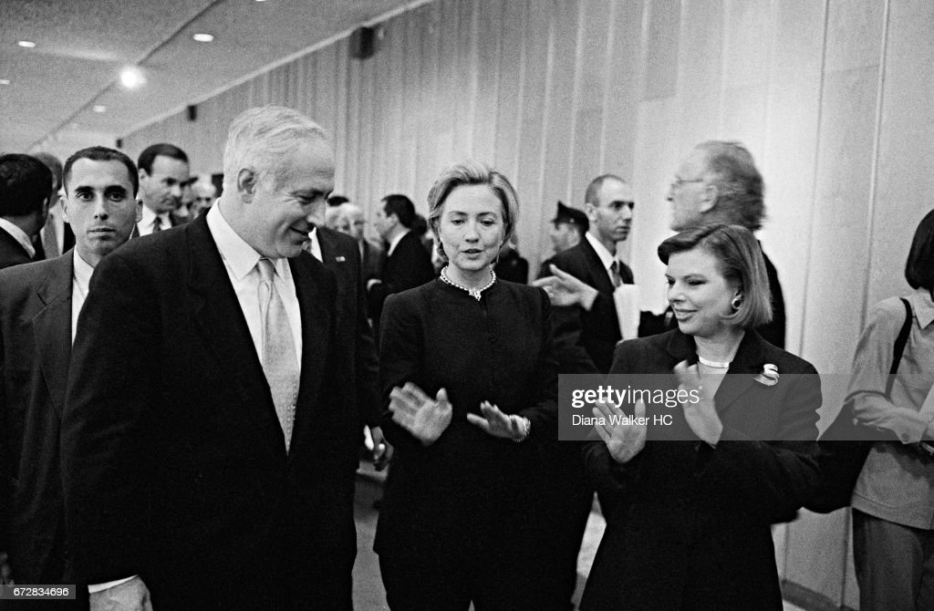First Lady Hillary Rodham Clinton, Prime Minister Benjamin Netanyahu of Israel and his wife Sara are photographed on December 13, 1998 at the Jerusalem International Convention Center in Jerusalem, Israel.