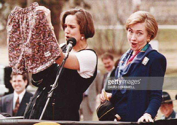 First Lady Hillary Rodham Clinton responds to a gift of boxer shorts for the President from University of Colorado triexecutive president student...