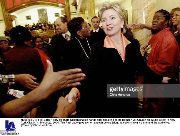 First Lady Hillary Rodham Clinton shakes hands after speaking at the Bethel AME Church on 132nd Street in New York City NY March 20 2000 The First...