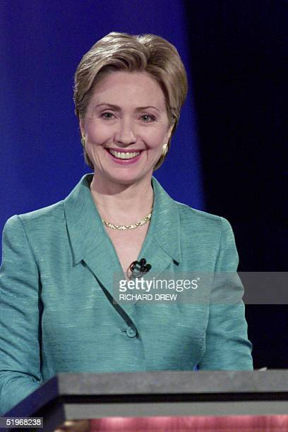 US first lady Hillary Rodham Clinton smiles after answering a question during her first debate in the New York State Senate race with US Senate...