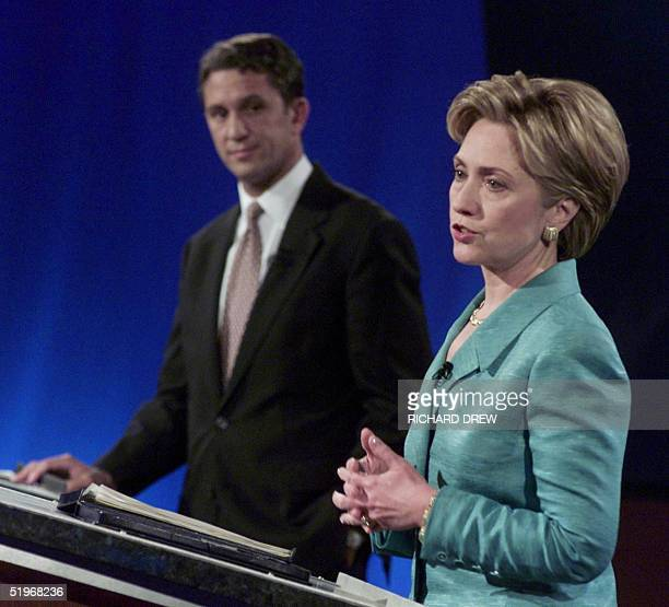 US first lady Hillary Rodham Clinton speaks during her first debate in the New York State Senate race with US Senate candidate Rep Rick Lazio RNY at...