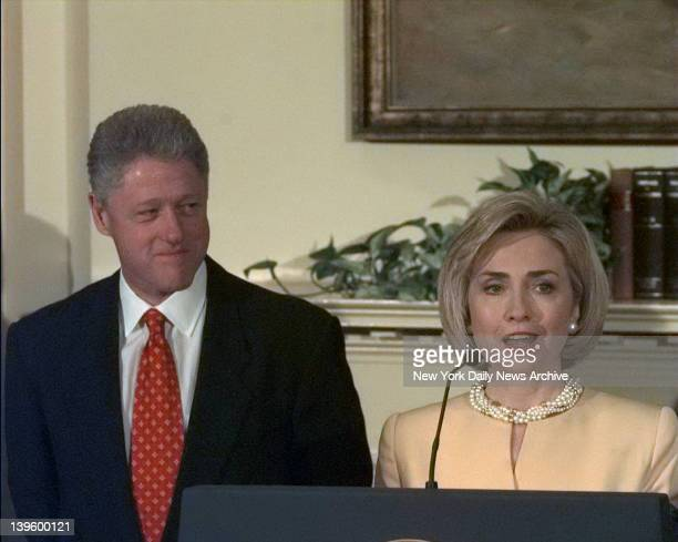 First Lady Hillary Rodham Clinton stands by the President her husband Bill Clinton as he denies improper behavior with Monica Lewinsky in the White...