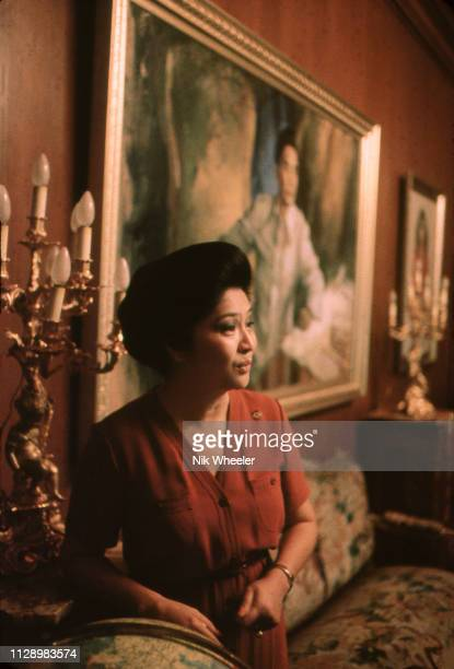 First Lady Imelda Marcos wife of President Ferdinand Marcos known for her lavish spending in her office in Malacanang Palace in Manila Philippines...