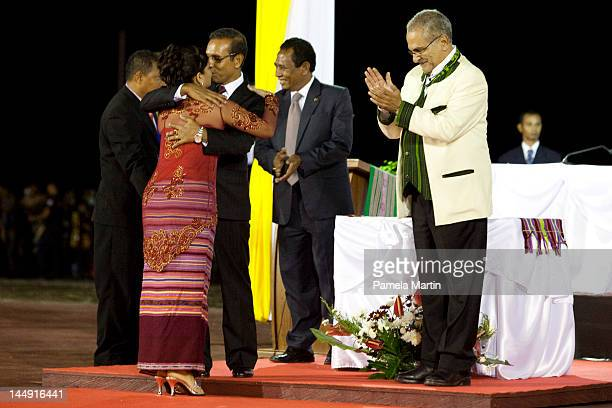 First Lady Isabel De Costa Ferreia kisses her husband President Taur Matan Ruak at the Presidential hand over ceremony as East Timor celebrates ten...