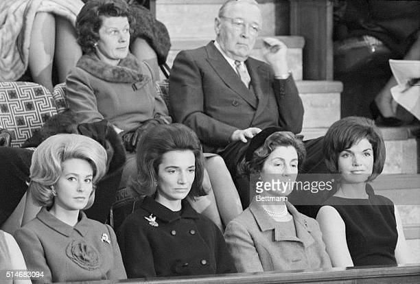 First Lady Jackie Kennedy watches President Kennedy deliver the State of the Union address Among those watching with her is her mother Janet...