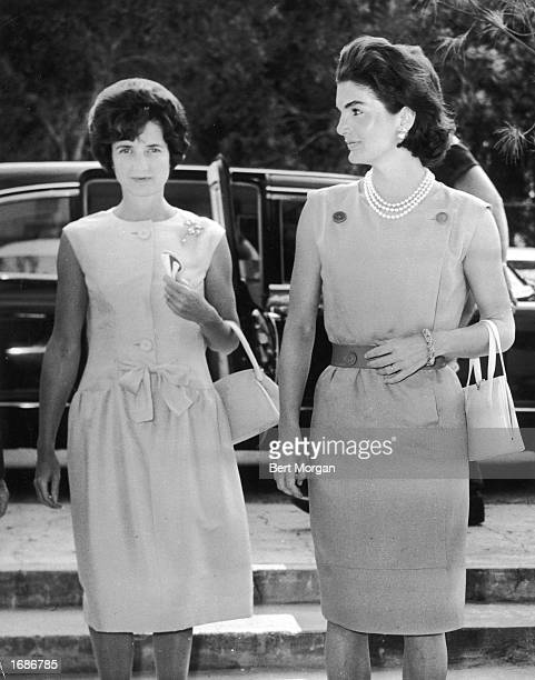 First Lady Jacqueline Kennedy and Jayne Wrightsman enter the Biltmore Hotel Palm Beach Florida March 1961