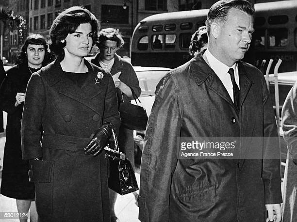 US first lady Jacqueline Kennedy walks along Fifth Avenue during a visit to New York New York March 24 1961
