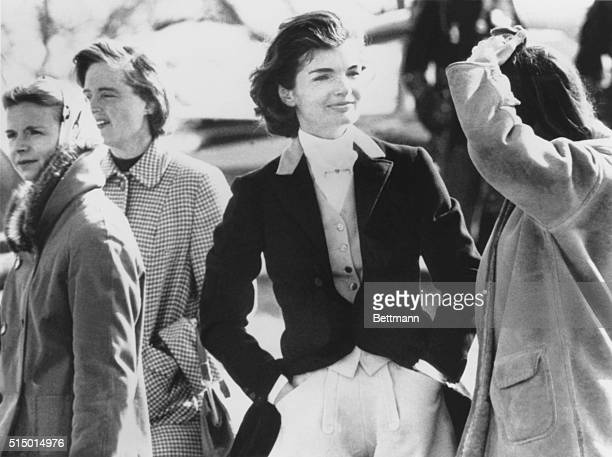 First Lady Jacqueline Kennedy with spectators at the Piedmont Foxhounds Races in Upperville Virginia Her husband President John Kennedy was in Key...