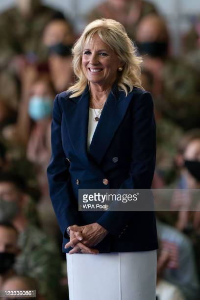 First Lady Jill Biden addresses US Air Force personnel at RAF Mildenhall in Suffolk, ahead of the G7 summit in Cornwall, on June 9, 2021 in...
