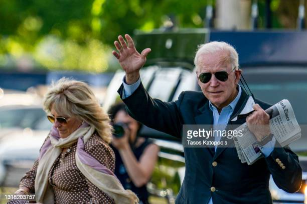 First lady Jill Biden and U.S. President Joe Biden walk on the ellipse to Marine One on May 15, 2021 in Washington, DC. The President and the first...