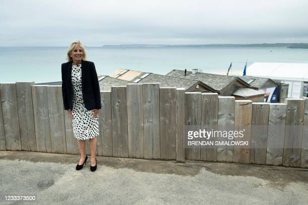 First Lady Jill Biden, poses for a photograph looking out over the sea, at Carbis Bay, in Cornwall on June 10 ahead of the three-day G7 summit being...