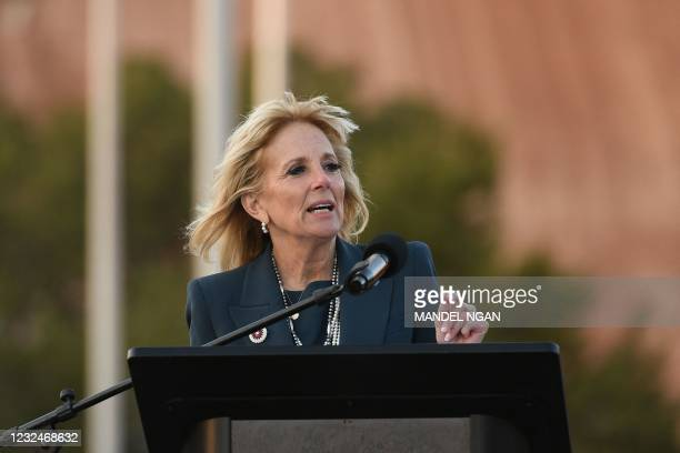 First Lady Jill Biden speaks during a live radio address to the Navajo Nation at the Window Rock Navajo Tribal Park & Veterans Memorial in Window...