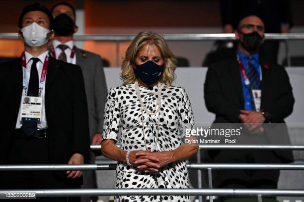 First Lady, Jill Biden takes part in a moment of silence the Opening Ceremony of the Tokyo 2020 Olympic Games at Olympic Stadium on July 23, 2021 in...
