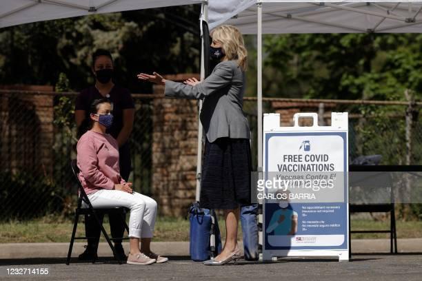 First lady Jill Biden visits a coronavirus disease mobile vaccination clinic at Jordan Park in Salt Lake City, Utah, on May 5, 2021.