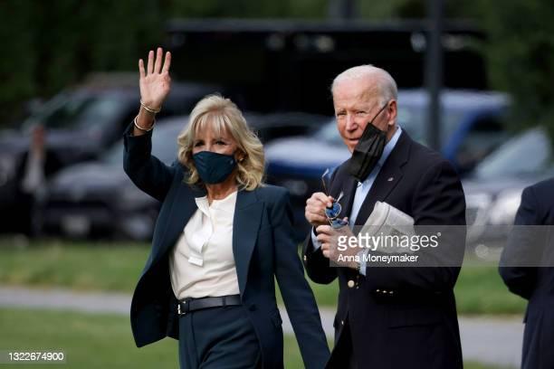 First Lady Jill Biden waves as she and U.S. President Joe Biden walk on the ellipse to board Marine One on June 09, 2021 in Washington, DC. President...