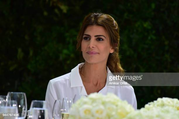 First Lady Juliana Awada looks on during the first day of the official visit of the president of Spain to Buenos Aires at Casa Rosada on April 9 2018...
