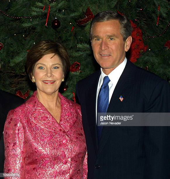 First Lady Laura Bush and President George W Bush