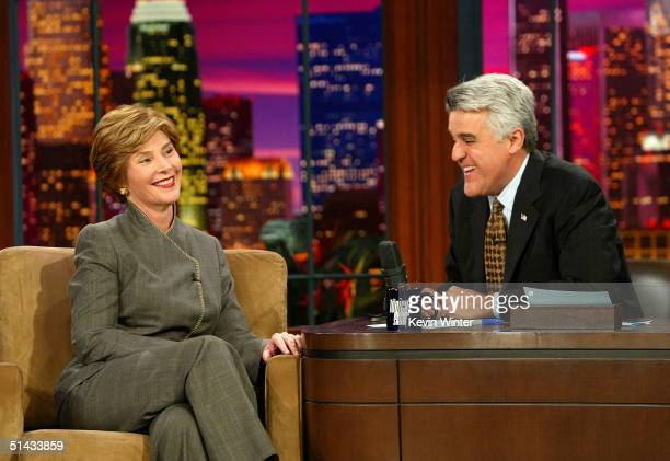 First Lady Laura Bush appears at 'The Tonight Show With Jay Leno' at NBC Studios on October 6 2004 in Burbank California