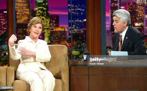 First Lady Laura Bush appears on The Tonight Show with Jay Leno at the NBC Studios on 2004 in Burbank California