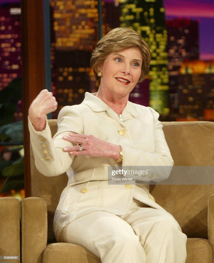 First Lady Laura Bush appears on 'The Tonight Show with Jay Leno' at the NBC Studios on 2004 in Burbank, California.