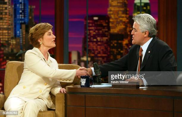 First Lady Laura Bush appears on The Tonight Show with Jay Leno at the NBC Studios on May 19 2004 in Burbank California